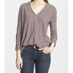 NWT RAG&BONE/JEAN Burgundy Striped Long-Sleeve Top